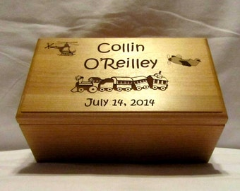 Large Personalized Keepsake Box - Custom Engraved Train - Children and Toddler Gifts