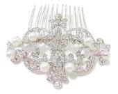 Bridal Comb, Wedding Bridesmaid Comb, Royal Wedding Pearl Flower Comb Tiara Rhinestone, Bridal Hair Comb, wedding Rhinestone comb HC0012