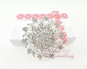 Bridal Brooch, Snowflake Bridal Rhinestone Brooch, Wedding Brooch Jewelry, Rhinestone Brooch, Wedding brooch BR0001