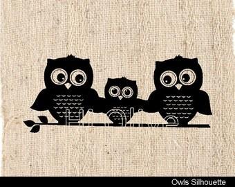 owls clip art,black owls clip art,silhouette owls clip art, baby owl ,familly owls, No. 76 , owls silhouette,instant download