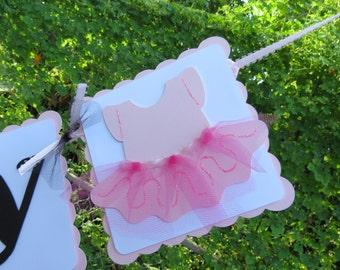 "Tutu (Ballerina) - ""Happy Birthday"" Banner - Light Pink, White, and Black"