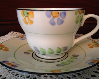 Sutherland Hand Painted Art Deco Tea cup and Saucer