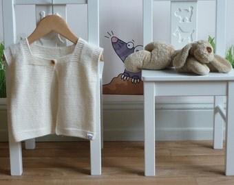 Hand knitted baby vest / Merino wool vest / hand knitted baby clothing / hand knit baby cardigan