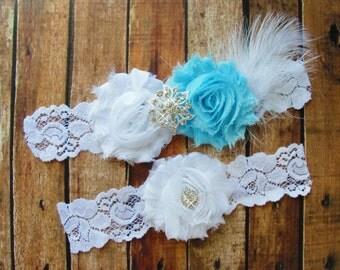 Blue Bridal Garter Set, Wedding Garter, Toss Garter, Feather Garter, Lace Garter, Crystal Garter, White Lace