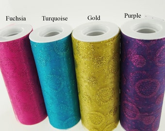 Glitter Tulle Roll Mixed Dots, 6-inch, 25-yard