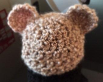 Newborn crochet teddy bear beanie