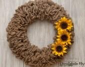 Rustic Wreath, Front Door Wreath, Burlap Wreath, Sunflower Wreath, Burlap Door Wreath, Christmas Wreath