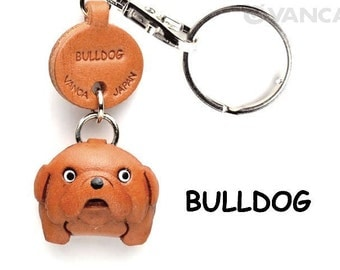 Bulldog 3D Leather Dog Keychain Keyring Purse Charm Zipper pull Accessory *VANCA* Made in Japan #56713   Free Shipping
