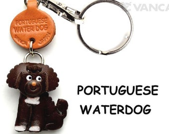Portuguese Water Dog 3D Leather Dog Keychain Keyring Purse Charm Zipper pull Accessory *VANCA* Made in Japan #56775 Free Shipping