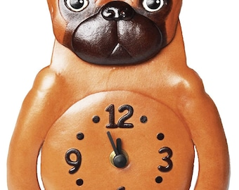 Pug dog 3D Leather Wall Clock VANCA* Made in Japan #26263 Free Shipping