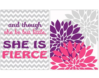 and though she be but Little She is Fierce Wall Art Quote Purple Pink Gray Flower Bursts Decor Nursery Art Prints Art for Girls Room 141ac