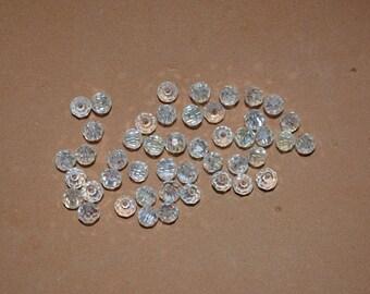 50 - 5040 - 4mm Genuine Swarovski Crystal Bead Rondels - Clear