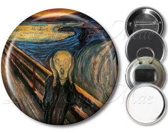 Edvard Munch The Scream Pocket Mirror, Gift Mirror, Refrigerator Magnet, Bottle Opener Key Ring, Pin Back Button Badge, Compact Mirror