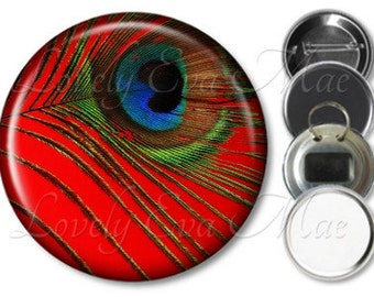 Red Peacock Feather Pocket Mirror, Peacock Fridge Magnet, Peacock Bottle Opener Key Ring, Pin Back Button, Peacock Mirror, Peacock Keychain