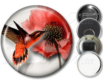 Hummingbird Pocket Mirror, Refrigerator Magnet, Bottle Opener Key Ring, Pin Back Button, Red Hummingbird, Red Flowers, Floral Compact Mirror