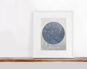 Capricorn Zodiac Printable Art, 8x10 inches, Nursery Art, Constellation Art, Watercolor Art Print, Digital File