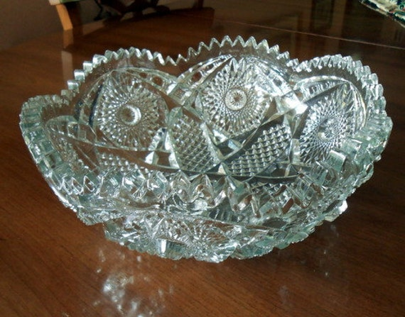 Hobstar and Diamond Crystal Serving Bowl Sawtooth Edge By Imperial Glass Co