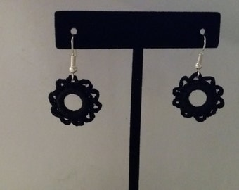 Black Crocheted Earrings