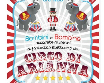 Personalized invitation for a CIRCUS PARTY