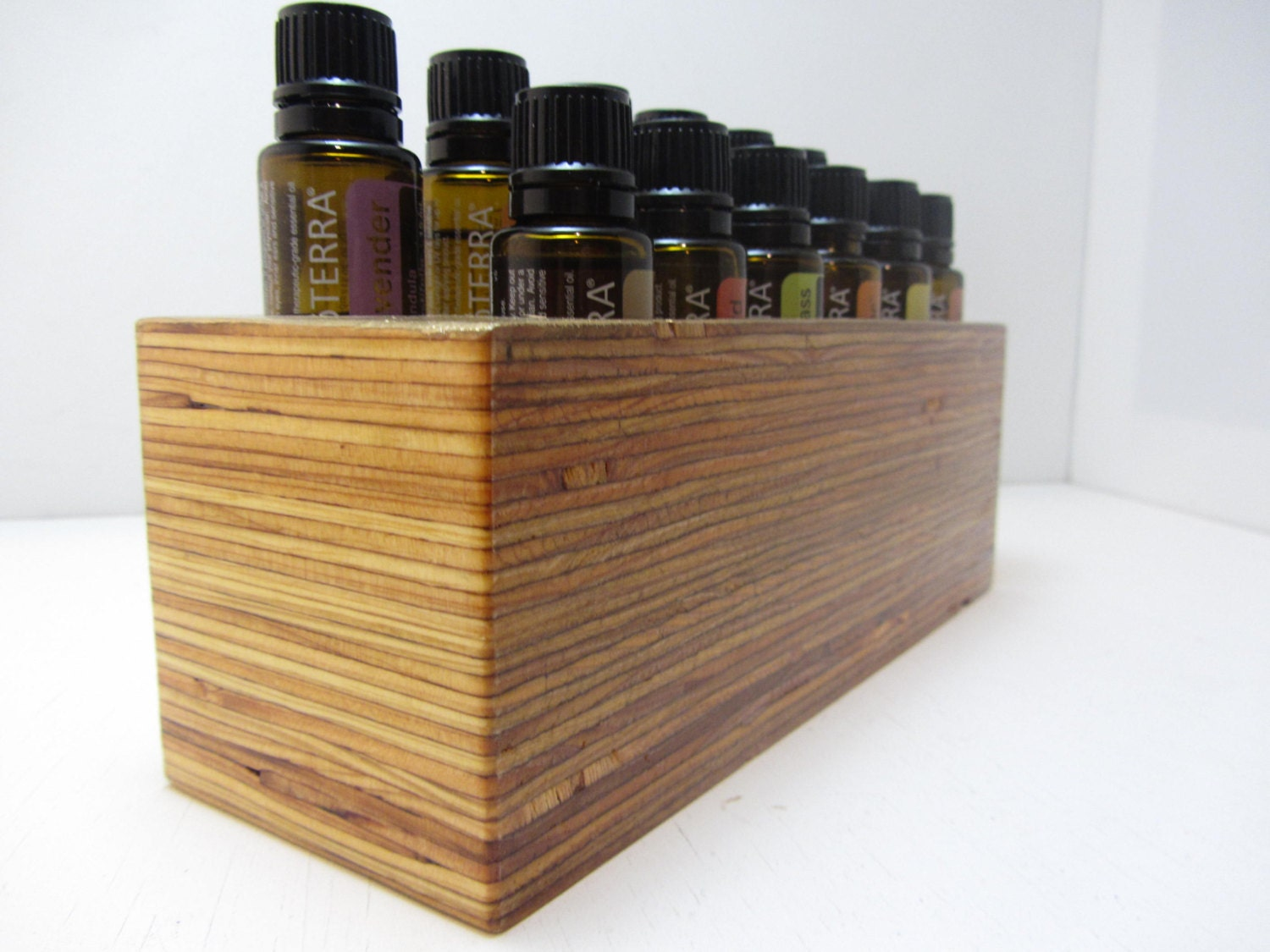 Marvelous photograph of Wood Layered Gold Top Essential Oil Holder Rack by Terraromarific with #9D782E color and 1500x1125 pixels