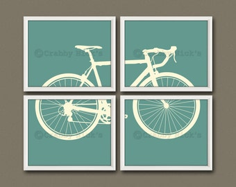 8x10 (4) NURSERY BICYCLE PRINTS - Nursery Art, Nursery Decor, Children's Art - Bicycle, Transportation