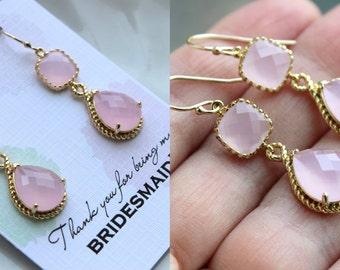 Blush Pink Jewelry Gold Bridesmaid Earrings - Blush Pink Earring - Bridesmaid Jewelry - Pink Earings - Wedding Jewelry - Wedding Earrings TT