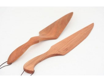 Handcrafted Wooden Cake Knife and Cake Server - Wedding Cake and Reception Accessory