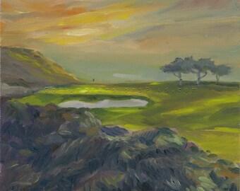 Golf Art. Golf Wall Decor. Golf Gift. Torrey Pines Golf Course - South, California, Hole #3. Print of original oil painting.