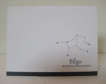 Virgo Zodiac Birthday Card, Virgo Zodiac Constellation Card, Astrology Sign Card