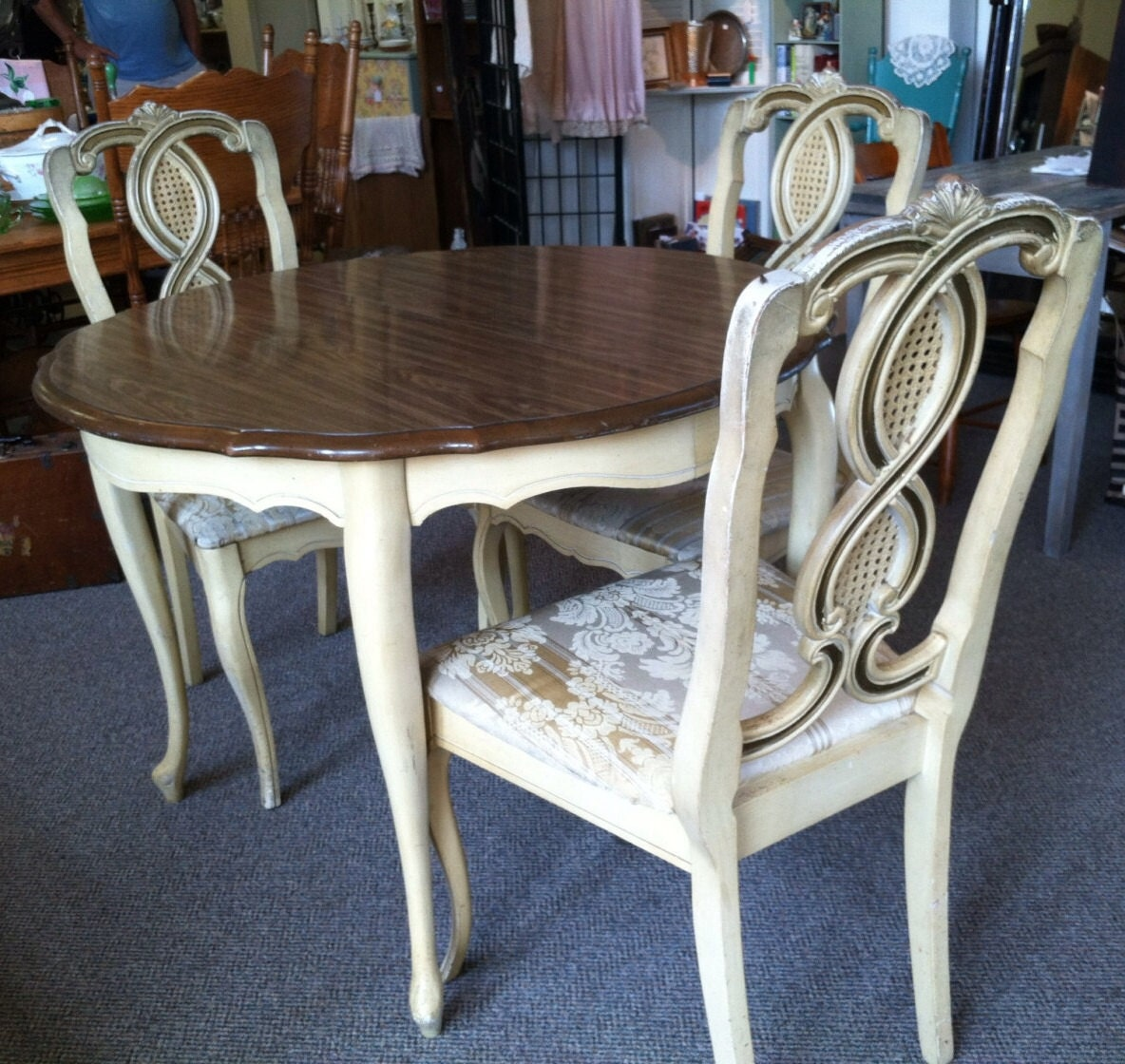 French Provincial Dining Room Set in white brown