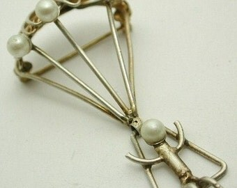 Vintage Sterling Silver Faux Pearl Man on Parachute Brooch Pin