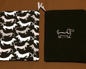 Black Dachshund Print iPad Case