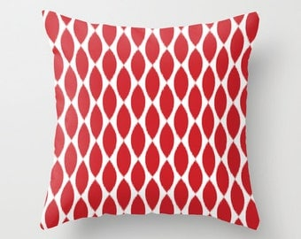 Ikat, Christmas Pillow, Velvet Pillow Cover, Ikat Pillow, Red Pillow Cover, Ikat Cushion, Girls Room Decor, Gifts for Her, 18x18, 22x22