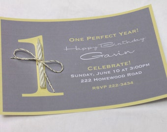 "First Birthday Invitation - 1st Birthday Invite - ""One Perfect Year!"" - Custom Made-to-Order"