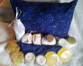 Starry Nights aromatherapy home spa kit in Royal Blue, white and gold. relaxation gift set, blue,tranquility fragrance
