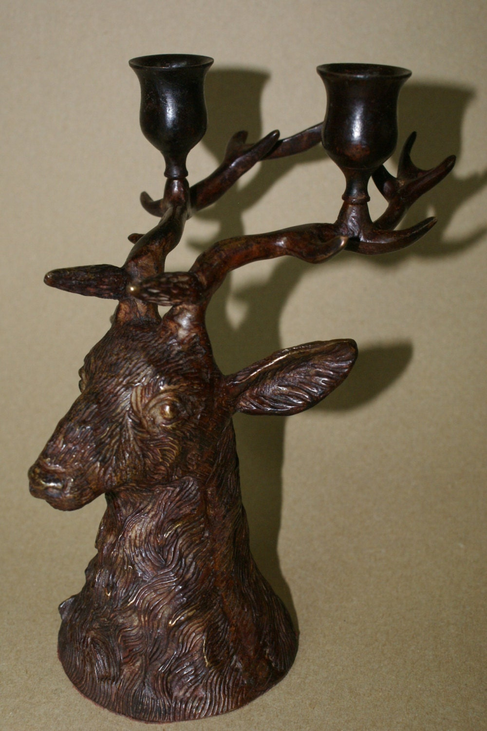 Vintage Solid Heavy Bronze Cast Iron Deer Stag Buck Head
