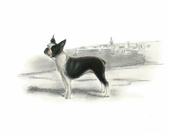 Boston Terrier Vintage Style Print