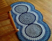 Braided Blue and White 3-circle rug - Ready to ship today!