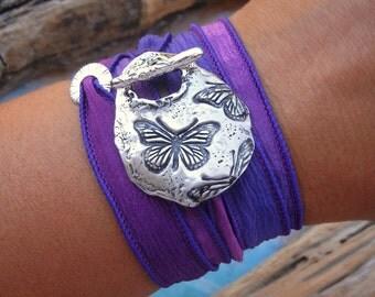 Butterfly Jewelry, Butterflies Bracelet, Butterflies Silk Wrap Bracelet, Sterling Silver Butterfly Jewelry, Best Gifts for Her