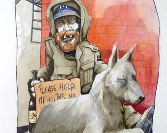 Homeless Watercolor Painting