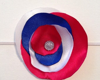 Red, white and blue satin flower headband