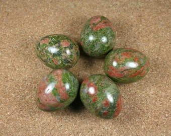 Unakite Eggs - Pink and Green Shiny Egg
