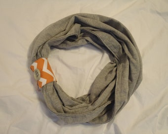 Grey Cotton Infinity Scarf with Cuff