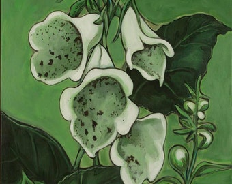 Foxglove # 1,  foxglove paintings, floral paintings, floral prints, modern art contemporary paintings, abstract paintings