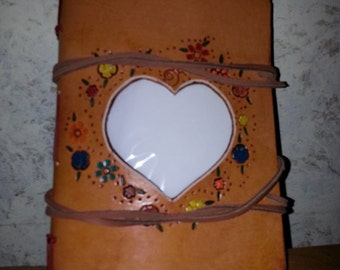 Leather  Photo Album with Heart Decoration