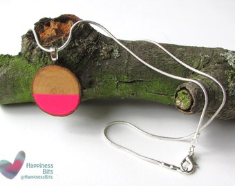 Neon Pendant Necklace Pink Geometric Jewelry Neon necklace Fluorescent silver plated snake chain