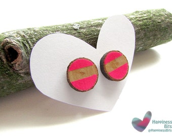 Hand Painted Neon Earring / Geometric jewelry / Pink neon stud earrings / Fluorescent / Stripped desing