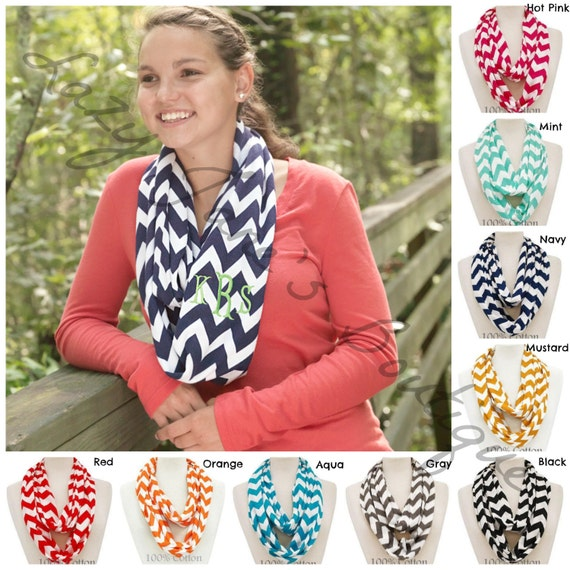 Monogram Chevron Scarves (please list monogram and font in comment box)