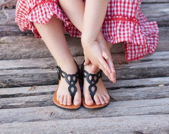 Black Leather Sandals, Flat Sandals, Summer Shoes, Black Sandals , Free Shipping