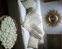 Cashmere Blanket/plaid 100% cashmere with felt pebbles (pure cashmere)